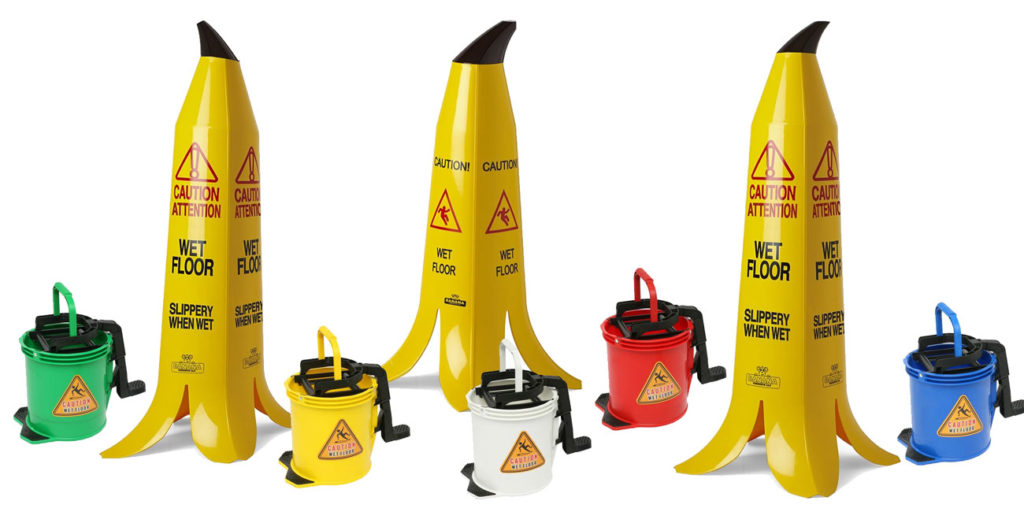 EDCO - cleaning supplies - caution bananas - buckets
